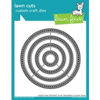 Lawn Fawn Cuts Large Cross Stitched Circle Stackables Dies LF1180 FREE SHIPPING