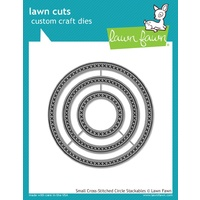 Lawn Fawn Cuts Small Cross Stitched Circle Stackables Dies LF1181 FREE SHIPPING