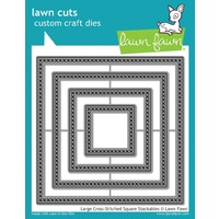 Lawn Fawn Cuts Large Cross Stitched Square Stackables Dies LF1182 FREE SHIPPING