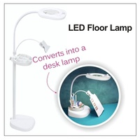 LED Floorstanding Magnifying Lamp with Clip and Tray White