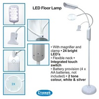 LED Floorstanding Magnifying Lamp with Clip White