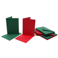 50 Red and Green 5x7 Cards and Envelopes Papermania