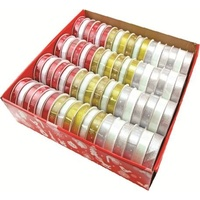 Christmas Ribbons Box of 72 Rolls 15mm Wide 3m per Roll