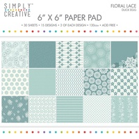 6x6 Simply Creative Paper Pad Floral Lace Duck Egg 30/pkg