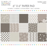 6x6 Simply Creative Paper Pad Floral Lace Natural 30/pkg