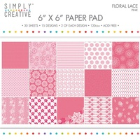 6x6 Simply Creative Paper Pad Floral Lace Pink 30/pkg