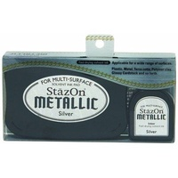 StazOn Ink Pad Metallic Ink Kit Silver
