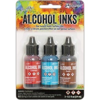 Tim Holtz Alcohol Ink .5oz 3/Pkg Rodeo-Crimson/Aquamarine/Sepia