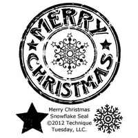 Technique Tuesday Stamps Merry Christmas Snowflake Seal FREE SHIPPING