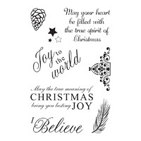 Ultimate Crafts 4x6 Stamp Set Seasons Greetings I Believe FREE SHIPPING