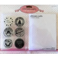 Ultimate Crafts Stamp and Embossing Set Seasons Greetings Joyeux Noel FREE SHIPPING