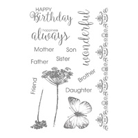 Ultimate Crafts 4x6 inch Stamp Set - Happiness (14pc) - Rambling Rose FREE SHIPPING