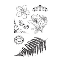 Ultimate Crafts Fern, Flowers and Floruishes - 4x6 Stamp Set- L Aquarelle Designs FREE SHIPPING