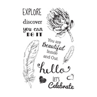 Ultimate Crafts You are Beautiful Inside - 4x6in Stamp Set - L Aquarelle Designs FREE SHIPPING