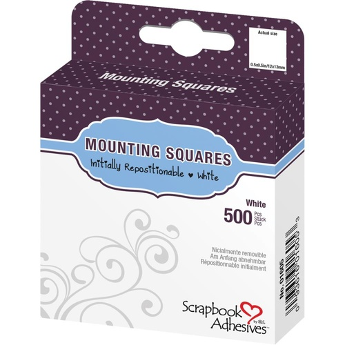 3L Scrapbook Adhesives Repositionable Mounting Squares 500/Pkg White