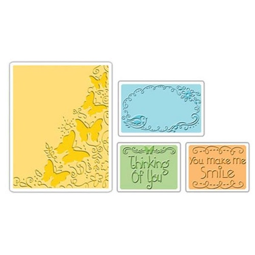 Sizzix Textured Impressions Embossing Folders 4PK Butterfly Migration Set 656982