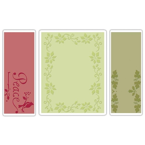 Sizzix Textured Impressions Embossing Folders 3PK Peace Poinsettia Set 656988