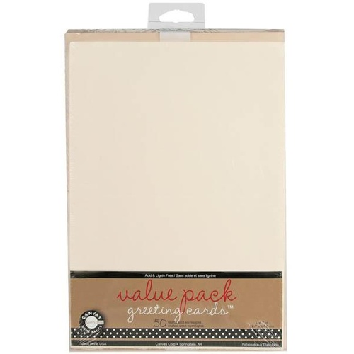 50 Blank Ivory Cards and Envelopes 5x7 175gsm
