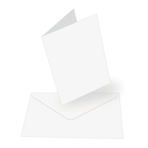 50 Blank White A6 Cards and C6 Envelopes 240gsm