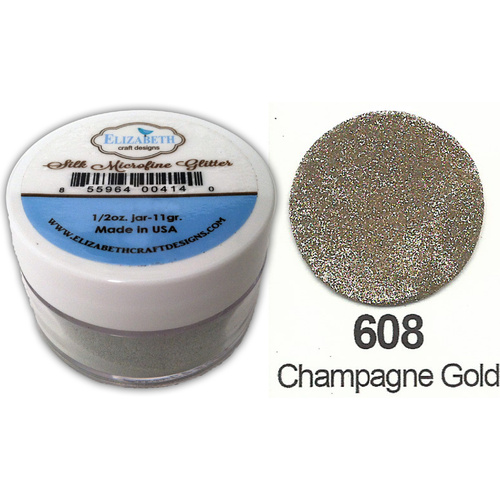 Elizabeth Craft Designs Silk Microfine Glitter 8g Jar 608 Champagne Gold