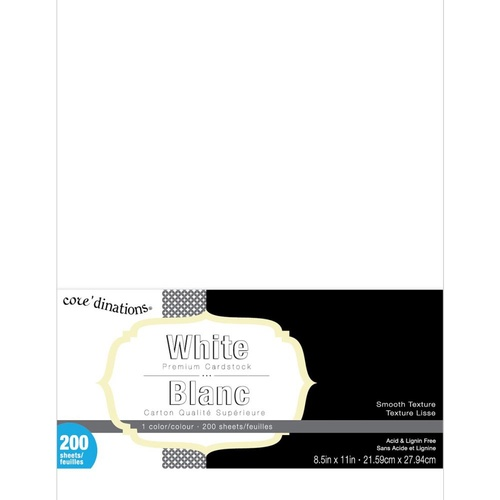 Core'dinations Value Pack Cardstock 8.5x11 200 Sheets Smooth White