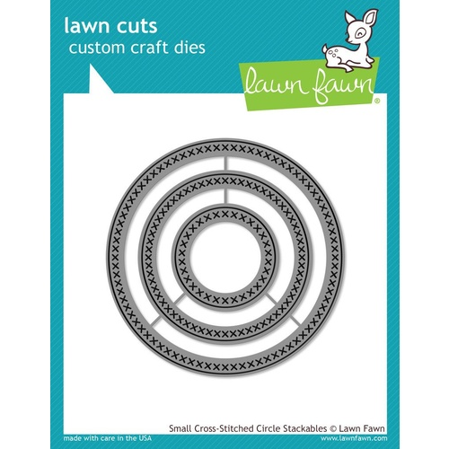 Lawn Fawn Cuts Small Cross Stitched Circle Stackables Dies LF1181