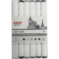 Kent Spectra Dual Tip Alcohol-Based Ink Markers 6pk Grey Tones