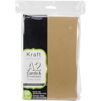 50 Kraft Cards and Envelopes A2 (4.375 X 5.75)