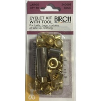 Birch Eyelet Kit with Tool 30/PK Gold
