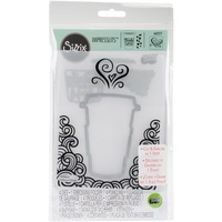 Sizzix Impresslits Embossing Folder And Die Set Thanks A Latte 662277