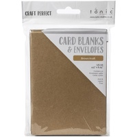 10 Blank Kraft A6 Cards and Envelopes 300gsm