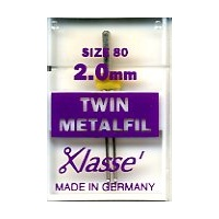 Klasse Embroidery Metalfil Twin Needles 2.0mm Size 80/12