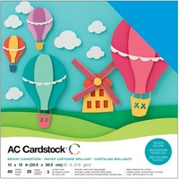 American Crafts 12x12 CARDSTOCK 60 Sheets 216gsm Brights