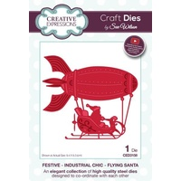 Sue Wilson Dies Festive Industrial Chic Collection Flying Santa CED3158