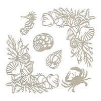Chipboard Seaside & Me Seafloor Corners & Silhouettes Set