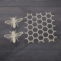 Chipboard Butterfly Garden Beehive & Bees Set (3pc)