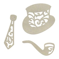 Chipboard Gentleman's Emporium Hat, Tie and Pipe Set (3pc)