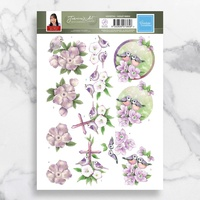 Couture Creations 3D Decoupage A4 Sheet Violet Birds Jeanines Art