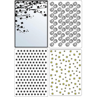 Crafts-Too Embossing Folders Background Set 2 4pc 4.25x5.5