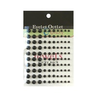 Eyelet Outlet Adhesive Pearls Multi-Size 100/Pkg Black