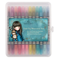 Watercolour Dual-tip Pens (12pk) - Santoro - Brights