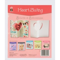 Hot Off The Press Die-Cut Cards with Envelopes 5/Pkg Heart Swing