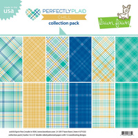 Lawn Fawn 12X12 Double-Sided Perfectly Plaid Chill Collection Pack LF1522