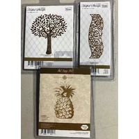 Hotfoil Stamps Summer Tree, Rosey Border and Pineapple