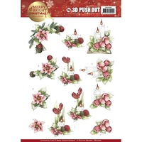Precious Marieke 3D Decoupage A4 Sheet Merry and Bright Christmas Candles in Red