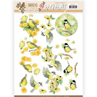 Jeanines Art Birds and Flowers 3D Decoupage A4 Sheet - Yellow Birds