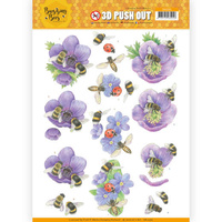 Jeanines Art Buzzing Bees 3D Decoupage A4 Sheet - Purple Flowers
