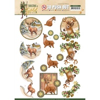 Amy Design 3D Decoupage A4 Sheet Christmas in Gold Deers