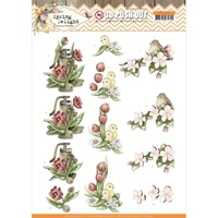 Precious Marieke 3D Decoupage A4 Sheet Spring Delight Red Flowers