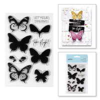 Spellbinders Clear Stamps Layered Butterflies STP-003